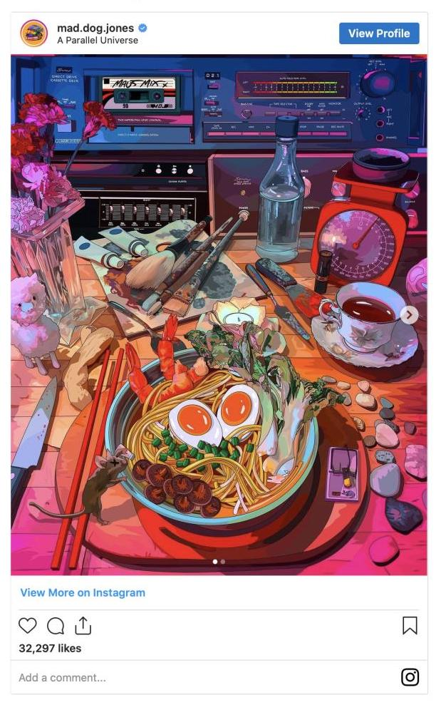 A digital art by artist Mad Dog Jones depicting a disarrayed table with a bowl of ramen as focal point