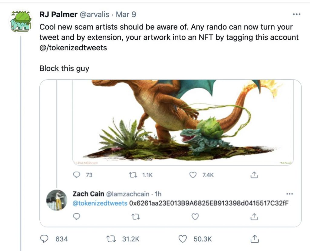 Tweet by Concept Artist RJ Palmer warning followers about a Twitter scam to tokenise art into NFTs without the artist's consent